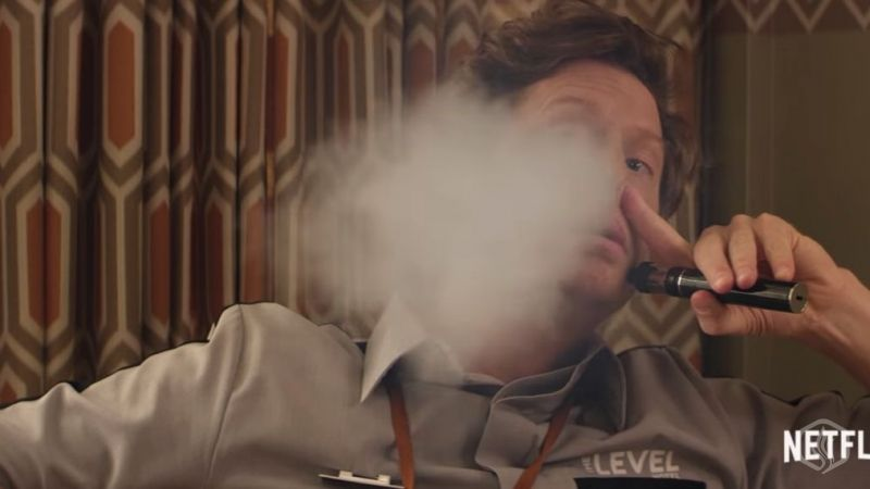 Image of Celebrity Anders Holm vaping an Aspire K4 in Neflix's 'Game Over, Man!'